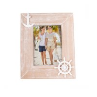 "5"" x 7"" White Washed Wooden Frame With Anchors"