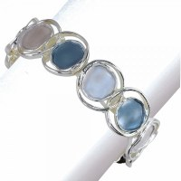 Slate Blue and Gray Circles Bracelet