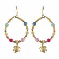 Colorful Hoop With Turtle Earrings