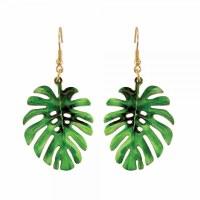 Green Tropical Leaf Earrings