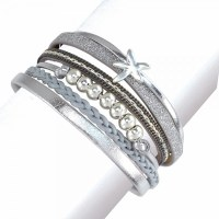 6 Gray and Silver Toned Bands With Starfish Bracelet