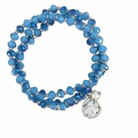 Blue Beaded Sand Dollar Bracelet
