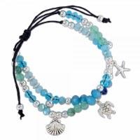 Blue and Green Beaded Sealife Bracelet