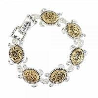 Silver and Gold Toned Turtles Link Bracelet