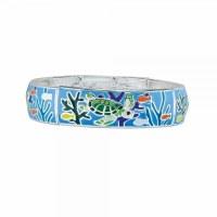 Blue Enamel Turtle Bracelet