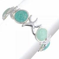 Aqua and Silver Starfish Bracelet