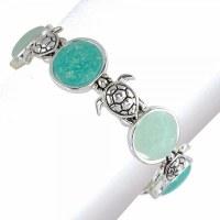 Aqua and Silver Toned Turtle Bracelet