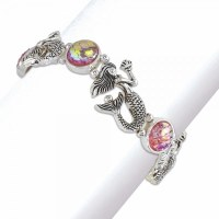 Pink and Silver Toned Mermaid Bracelet