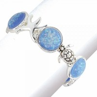 Blue and Silver Toned Sealife Bracelet
