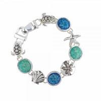 Aqua and Blue Sealife Bracelet