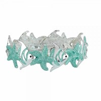 Aqua and Silver Toned Starfish Bracelet