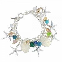 Multicolored Beads With Shells and Silver Toned Starfish Charm Bracelet