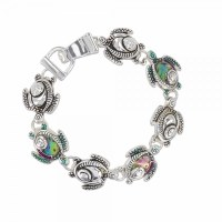 Abalone and Silver Toned Turtle Bracelet
