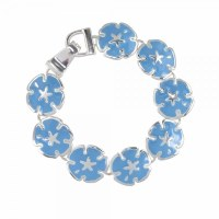 Light Blue and Silver Toned Sand Dollar Bracelet
