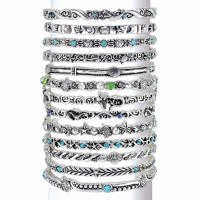 13 Antique Silver Toned And Turquoise Sealife Bangles