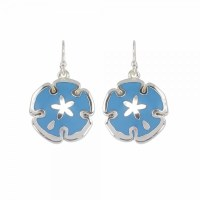 Blue and Silver Toned Sand Dollar Earrings