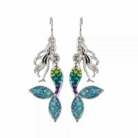 Blue and Silver Toned Mermaid Earrings