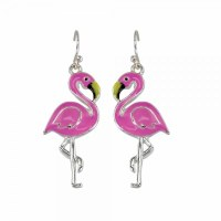 Pink and Silver Tone Flamingos Earrings