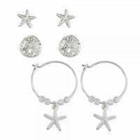 Set of 3 Sand Dollar Starfish Earrings
