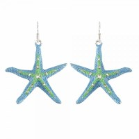 Aqua and Blue Starfish Earrings