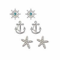 Set of 3 Anchor and Starfish Earrings