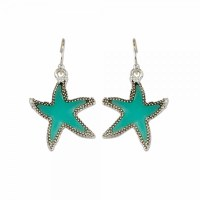 Aqua and Silver Toned Starfish Earrings
