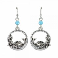 Antique Silver Toned Mermaid Hoop Earrings