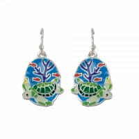Blue Enamel With Turtles Earrings
