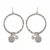 Silver Toned Sand Dollar Hoop Earrings