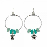 Turtles With Beach Glass Hoop Earrings