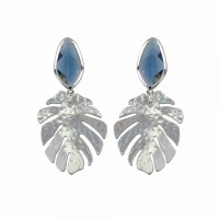 Silver Toned Tropical Leaf Earrings