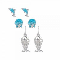 Set of 3 Aqua and Silver Toned Dolphin, Bonefish and Shell Earrings