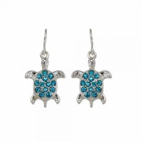 Blue and Silver Toned Bling Earrings