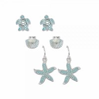 Set of 3 Aqua and Silver Toned Starfish and Turtle Earrings