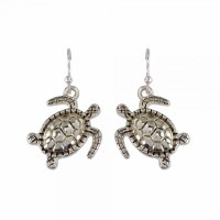 Antique Silver Toned Turtle Earrings