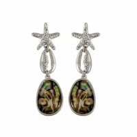 Silver Toned Cowrie Abalone Earrings