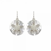 Silver Toned Sand Dollar Bling Earrings