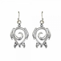 Silver Toned Turtle Swirl Earrings