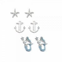 Set of 3 Silver Toned Blue Mermaid and Anchor Earrings