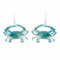Blue and Green Crab Earrings