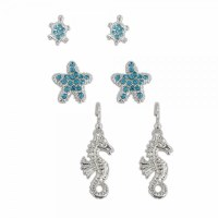 Set of 3 Blue and Silver Toned Seahorse and Starfish Earrings