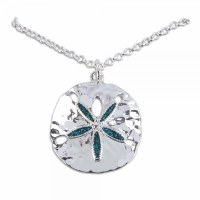 Silver Toned and Aqua Sand Dollar Bling Necklace