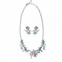 Necklace and Earring Silver Toned and Blue Starfish Cluster Set