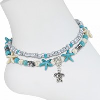 Turquoise and Silver Toned Starfish Turtle Anklet