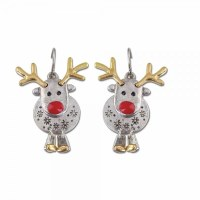 Silver and Gold Toned Red Nose Reindeer Earrings