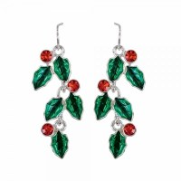 Red and Green Holly Drop Earrings