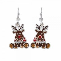 Brown and Red Deer Earrings
