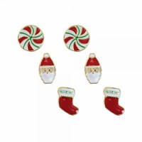 Set of 3 Multicolored Santa Stocking Earrings
