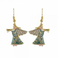 Multicolored and Gold Toned Angel Earrings