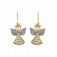 Gold Tone Pearl Bling Angel Earrings